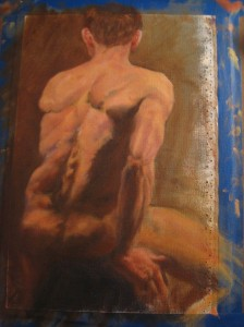 Seated Figure, Oil Study