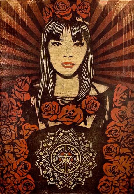 Rose Girl, by Shepard Fairey, Image from the Irvine Contemporary Website