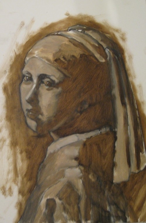 After Vermeer, early into the grisaille