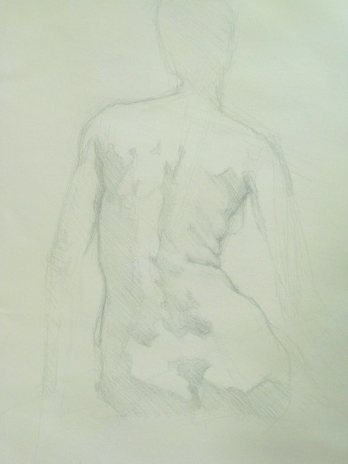 Silverpoint, Seated Female