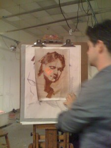 Rob applies and then evaluates the light color, focus is on only painting the lights and darks/shadows at this point