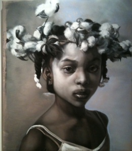 Another Thorny Crown, Margret Bowland, charcoal and pastel on rag paper