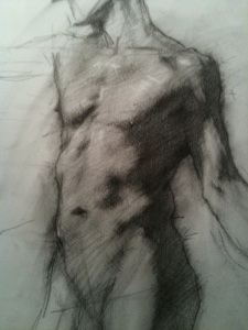 Male Torso, Robert Liberace, charcoal on paper